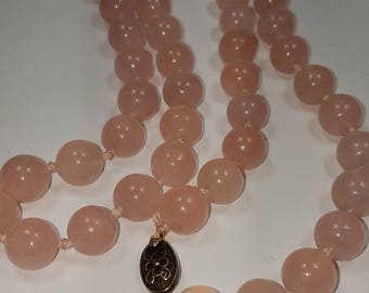 vintage pink quarts necklace