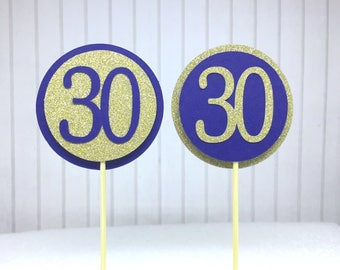 """30th Birthday Cupcake Toppers - Gold Glitter & Navy Blue """"30"""" - Set of 12 - Elegant Cake Cupcake Age Topper Picks Party Decorations"""