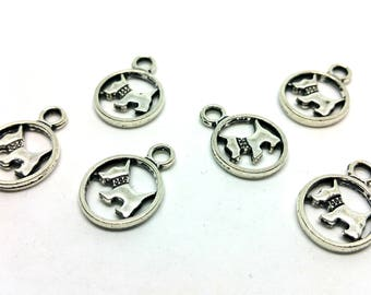 x 1 charm - dog Animal - metal medal - customized Jewelry Silver