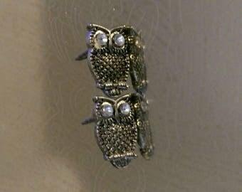 Small Owl Jewel Post Stud Earrings