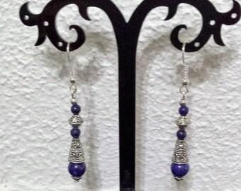 Lapis lazuli Tibetan style earrings