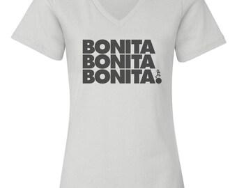 Bonita Apple Bum Custom Women's Relaxed V Neck Tee T-Shirt-White