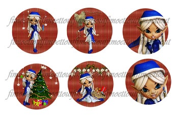 36Image digital cabochon Elf Christmas (send email)