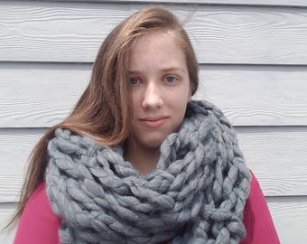 Knitted Infinity Scarf- Gray