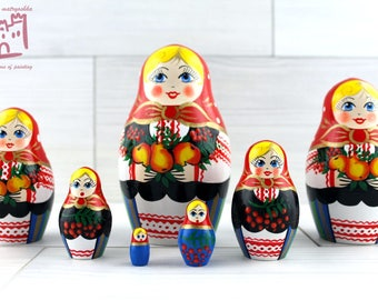 Fruit in Garden Matryoshka set of 7 pcs Stacking Wooden Russian Nesting Dolls