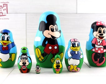 Mickey Mouse and Friends Matryoshka set of 7 pcs Stacking Wooden Russian Nesting Dolls