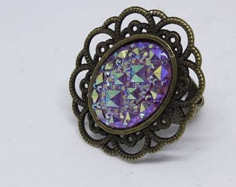 bronze ring and cabochon pink glitter