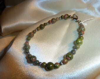 Genuine UNAKITE GEMSTONE BRACELET
