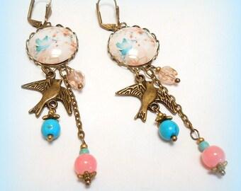 "Earrings sleepers ""my beautiful Blue Bird"""