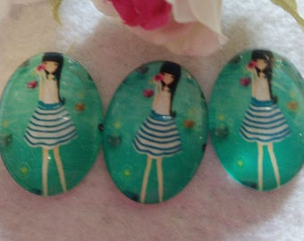 Set of 8 cabochons girl