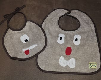 Set of two funny monsters, baby bibs