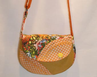 Mini shoulder bag in faux leather fabric and yellow orange