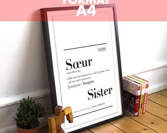 """Poster definition """"Sister"""" - A4 Format: 21 x 29.7 cm"""