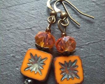 Bohemian facet and Czech bead earrings