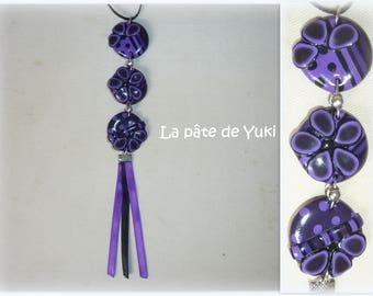 Necklace 3 round pieces purple black handmade polymer clay