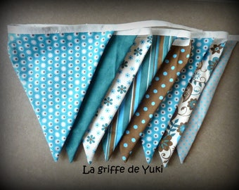 Bunting in turquoise and brown tones