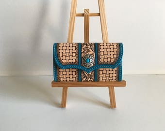 Floral and turquoise tooled leather wallet