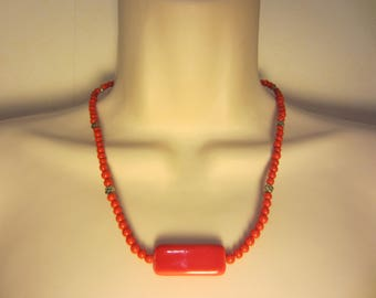 Red ceramic pendant necklace