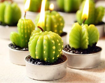 Trendy Barrel Cactus Tea-Light Candles - Pack of 6!