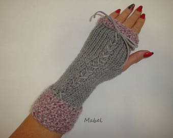Fingerless gloves arm warmers knit, gray and pink lace, mohair, very warm