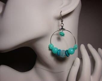 Hoop earrings, turquoise 4 cm, turquoise flower beads, flower, chamballa