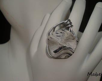 Gray and white, wavy, original Pearl ring, wedding