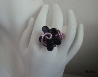 Black and pink flower ring, rose, adjustable aluminum wire, wedding