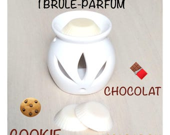 Incense burner 3 wax melters, cookie flavors, chocolate and macaroon shaped tart