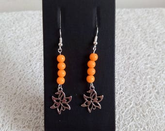 Neon orange earrings