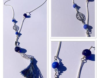 Long tassel necklace silver chain and Murano glass beads
