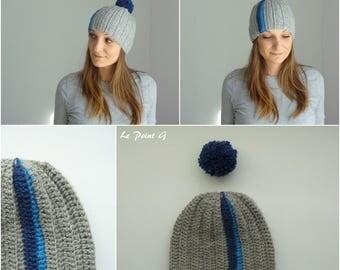 Bonnet graphique gris et bleu et son pompon amovible / tuque crochet bonnet pompon amovible original homme femme alpaga unique fait main