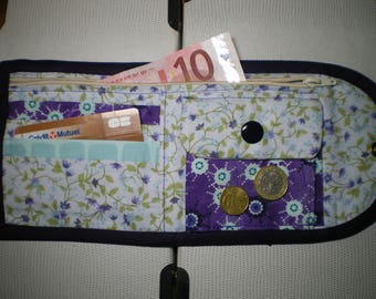 Purple floral patchwork fabric card holder wallet