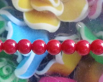 5 4 mm red genuine coral beads, 1 mm hole