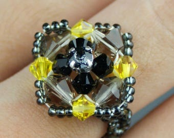 Black and yellow swarovski crystal ring