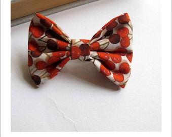 "hair bow ""clip - me"" cherry pattern"