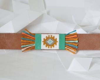 "Ethnic bracelet ""Apache"" leather and woven beads"