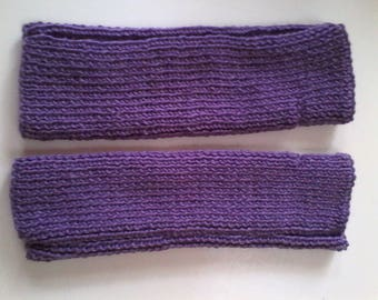 Purple fingerless gloves hand knitted women