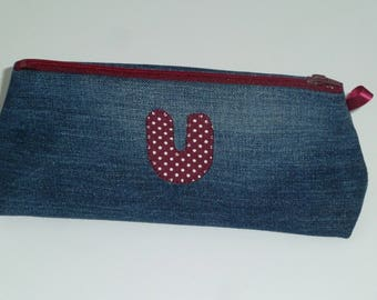 Zippered recycled denim with applied U Kit