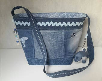 "Recycled denim, ""Dolphin"", lined blue flowered blue Cabanoe bag"