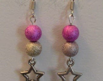 Pearl two colors and stars earrings