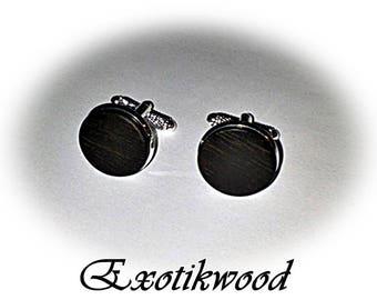From Gabon black ebony wood cuff links