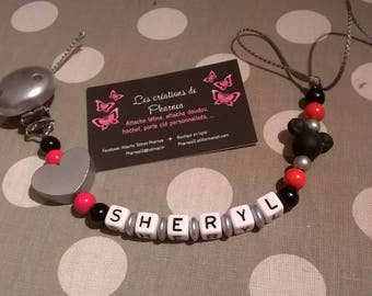 Pacifier clip personalized with name mickey minnie heart silver and Red Black silicone pacifier