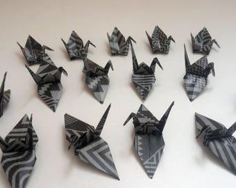 Set of origami cranes: black ethnic Collection