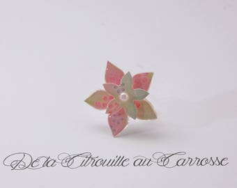 Ring 3D pastel cherry blossom pink and green