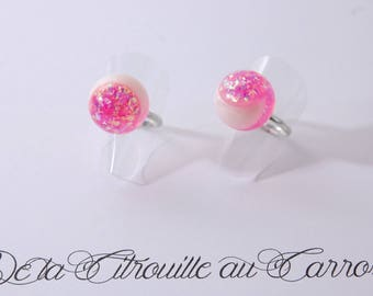 Pearly pink iridescent and white ball ring