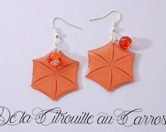 Orange Hexagon Stud Earrings, glass bead
