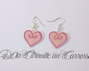 Earrings heart, hot pink and pale pink, plaid and polka dots