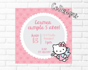 Invitation to print Hello Kitty