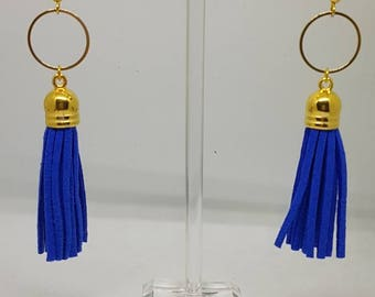 Blue hard and Golden tassel earrings