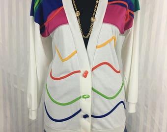 Vtg Color Block Cardigan (S) 1990's